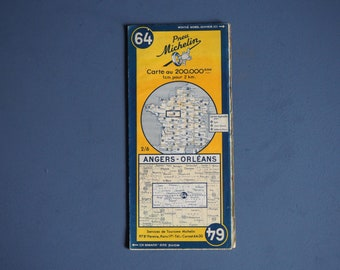 Michelin Road Map 1935-1953 Number 64 ANGIERS - ORLEANS