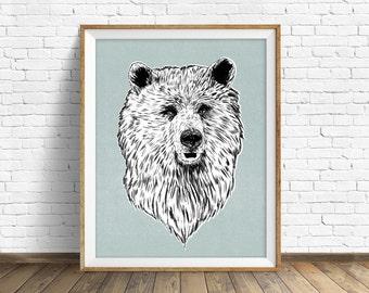 "drawing, bear, grizzly, wall art, large art, large wall art, woodland animals, fine art print, modern, contemporary, art -""Harry the Bear"""