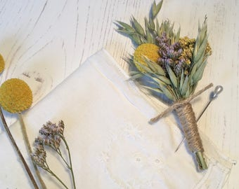 Buttonhole/Boutonniere of dried flowers | craspedia, limonium, yarrow & oats | wedding | groom