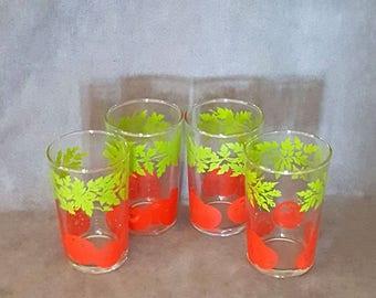 Retro Juice Glass Lot Tomato Tomatoes