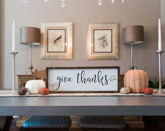 Give thanks, Give Thanks Sign, Give Thanks wood sign, gather sign, Fall sign, thanksgiving sign, fall decor, thanksgiving decor, wood sign