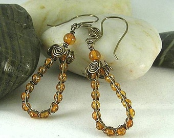 Sacred Spiral Earrings with Amber & Spiral Earwires
