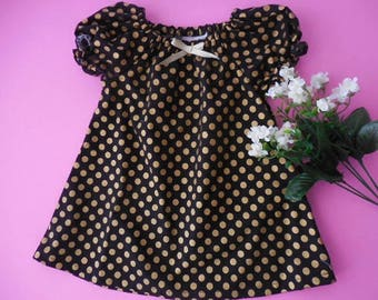 SALE!!!!! LAST ONE!!! Ready to ship---Babies black with gold dots  peasant style dress