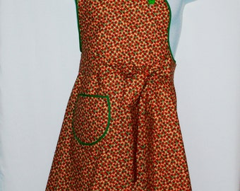 Red Strawberries Apron, Modern Hostess Apron, Personalized With Name, No Shipping Charges, Ready To Ship TODAY, AGFT 850