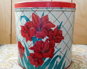 Vintage Metal Canister Red Lillies
