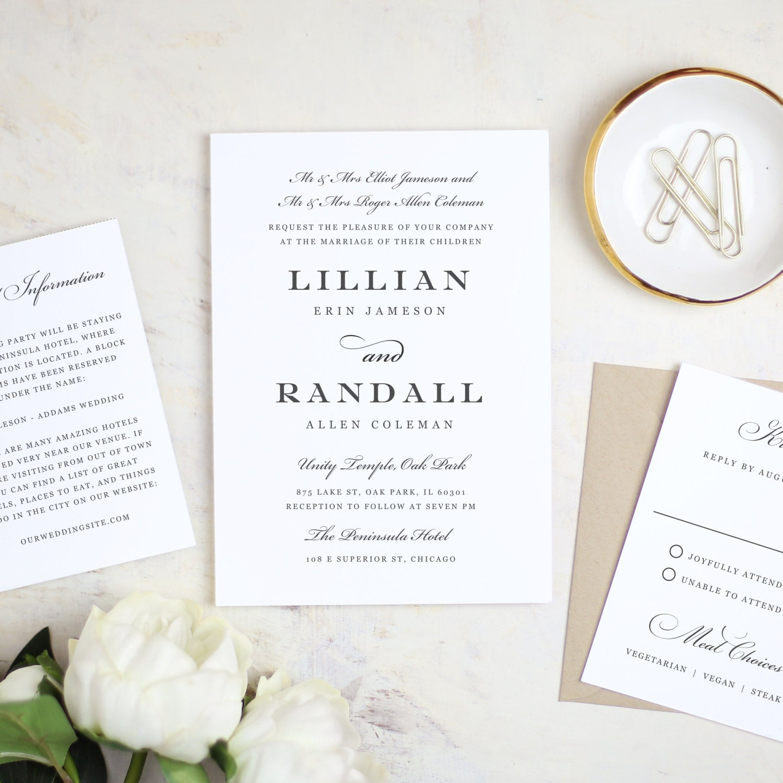 Printable wedding invitation template formal script word zoom monicamarmolfo Image collections