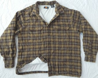 Thermal Lined Black / Brown Plaid Flannel Work Shirt - Large Mens Insulated