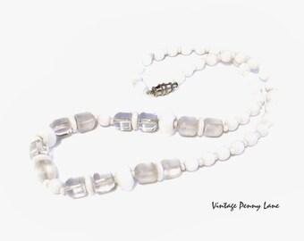 Vintage Glass Bead Necklace, White / Frosty