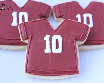 Football Jersey Decorated Sugar Cookies, Boys Birthday Cookies, Sports Cookies, Football Party, Superbowl Cookies