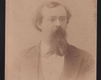 Man with Beard and Glasses - Jacksonville, Illinois IL - Cabinet Card