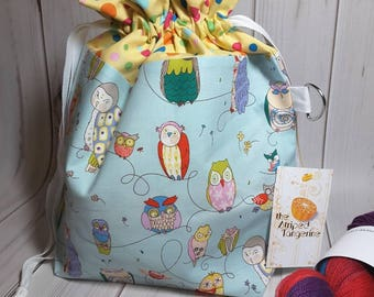 Medium Drawstring Project Bag- Whimsical Owls - Knitting- Crochet- Needlearts- Crafting- Artist