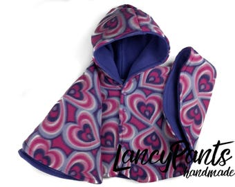 Size 2 ready to ship Pink purple hearts fleece car seat poncho - winter kids children's poncho -infant poncho - toddler poncho