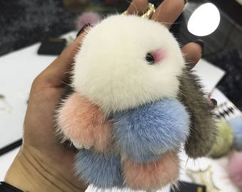 Mink Bunny Tote Charm Purse Charm Fluffy Pompoms Kawaii Bunny Keychains