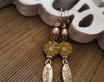 Springtime Green Flower Dangle Earrings with Glass Beads and Imagine Charm
