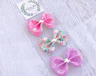 Floral Bows | pink Bow | Summer Bow | Baby Bows | Baby Headbands | Toddler Bows | Toddler Headbands | Girls Hair Clips | Photo Prop