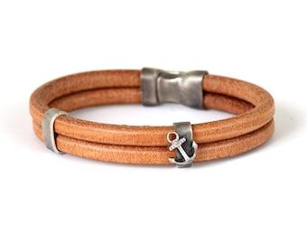 Sailor Leather Bracelet, Sterling Silver, Anchor Bracelet Men, Nautical Bracelet, Silver Anchor