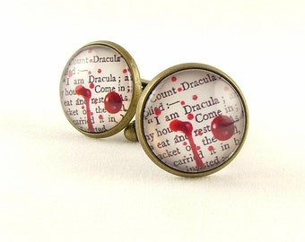 Vampire Cufflinks - Dracula Literary Gift - Horror Book - Gifts For Him - Quote Cuff Links - Gifts For Boyfriend - Gothic Jewelry
