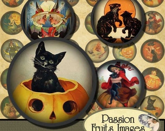 1 inch Cute Vintage Halloween circles Digital Collage Sheet--Instant Download