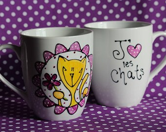 Cat purple Boris porcelain coffee mug I love cats!