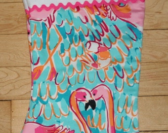 Christmas stocking made with Rare Lilly Pulitzer Peel and Eat fabric