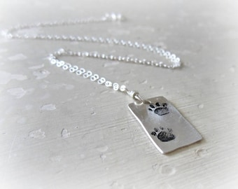 Paw Print Necklace, Stamped Pendant, Sterling Necklace, Small Paw Necklace, Double Paw Pendant, Pet Lover Gift, Metalwork Jewelry