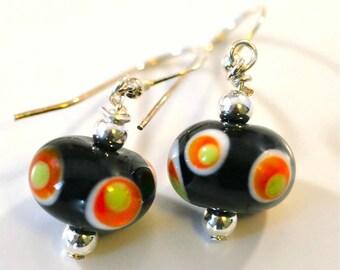 Halloween Lampwork Black Bead with Dots Earrings on Sterling Silver Ear Wires