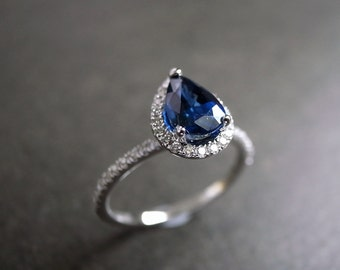 Blue Sapphire Engagement Ring / Engagement Ring / Diamond Engagement Ring / Diamond Wedding Ring / Pear Sapphire Ring in 14K White Gold