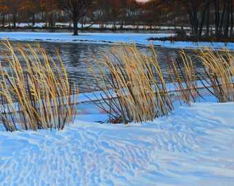 """Landscape Art Print - """"Churchill Woods"""", Limited Edition Giclee Print on Fine Art Paper of  a winter snow scene, 12"""" x 12"""""""