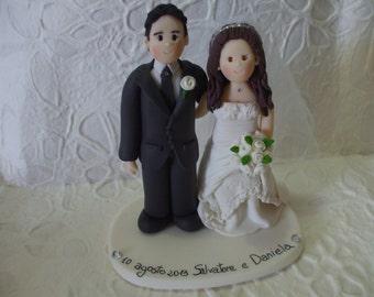 custom bride and  groom romantic wedding cake topper