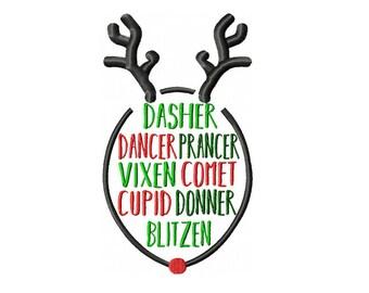 Reindeer Names Machine Embroidery Digital Download