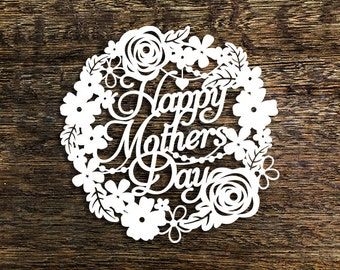 Papercut Template 'Happy Mother's Day' Card Making GiftPDF JPEG for handcut & SVG for Cutting Machines
