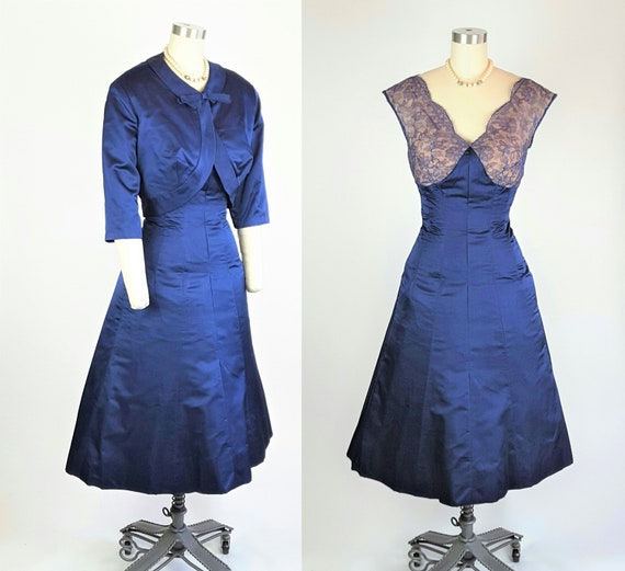 Royal Flared Bolero Dress and Blue Set~XS Beautiful Peter Jacket and Satin Couture ~ Lace w Dress 1940s Jacket Vintage Skirt Pan 7qf1XX