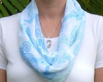 Seahorse scarf, printed scarf, infinity scarves, summer scarf, lightweight scarf, unique design, women's scarf, chiffon scarf, scarf
