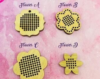 Flower stitch mini embroidery wood base  DIY