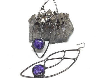 hand formed copper leafy statement earrings bohemian style eclectic long sparkly dichroic purple fused glass