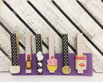 Decorated clothespins with magnets, magnetic clothespin set, baking magnets, loves to bake gift, baking theme fridge magnets, magnet clips