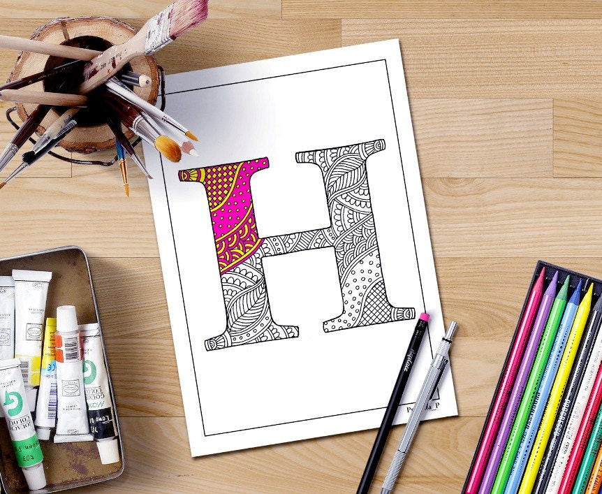 Intricate Coloring Pages For Adults : Zentangle alphabet coloring pages for adults letter h henna