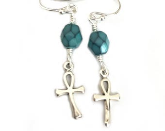 Sterling Silver Ankh Egyptian Earrings for Women