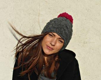 Womens Winter Hat, Charcoal Gray Pom Pom Hat, Womens Knitted Beanie, Winter Beanie, Women's Accessories by EllenaKnits