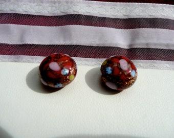 Vintage Earrings  - Womans Earrings - Murano Glass Earrings - Mid Century Earrings - Glass Earrings - Clip Ons - Arts and Crafts Earrings