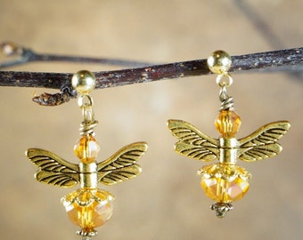 Posted Earrings, Yellow Rainbow Crystals with Gold Tone Metal Wings and Spacers on Nichol Free Studs, Bee Earrings, Bee Dangles