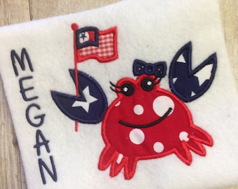 Precious!! Girly 4th of July - Patriotic  Crab W/Flag Applique Shirt or Onesie