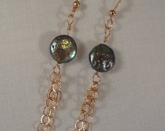 Dark Green Coin Pearl Earrings, Gold Filled(LVE51)