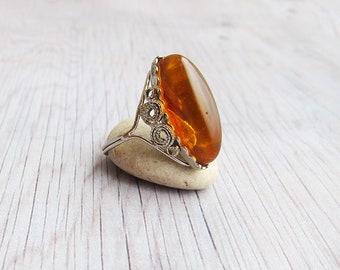 Vintage amber rings Vintage rings Baltic amber ring Amber USSR ring Amber jewellery ring Vintage boho ring amber jewelry natural amber