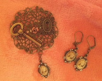 Handcrafted Vintage Inspired Cameo Brooch and Matching Earrings