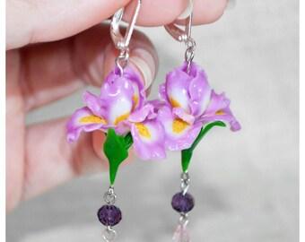Iris earrings Gift for sister Flower earrings Iris jewelry Dangle earrings Purple earrings Polymer clay earrings Polymer clay flower jewelry