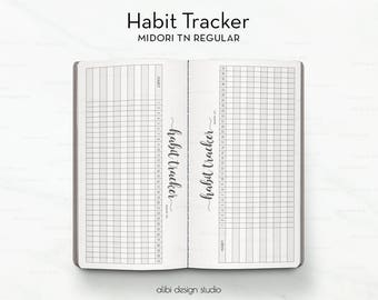 Standard TN, Habit Tracker, Midori, Travelers Notebook, TN Inserts, Midori Inserts, Traveler's Notebook Standard, Goal Tracker