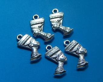 Egyptian pendants etsy set of 5 egyptian charms silver head charms egyptian pendants silver egyptian aloadofball Image collections