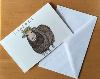 BEWEtiful Sheep Beautiful Blank Greeting Card