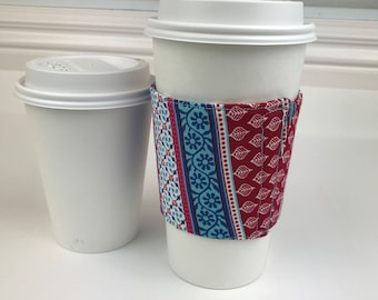 Geometric Print Fabric coffee cozy / coffee cup holder / coffee sleeve